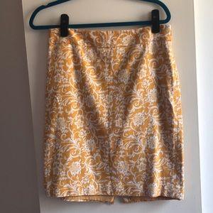 Yellow floral print pencil skirt